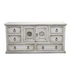 [67 Inch] Whitewashed Small Mansion Dressers