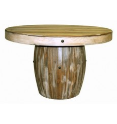[48 Inch Round] Slatted Wood Barrel Table