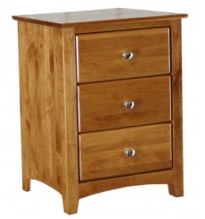 [23 Inch] Alder Shaker 3 Drawer Nightstand - shown in Golden Pecan finish