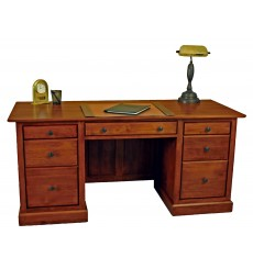 [64 Inch] Alder Shaker Executive Desk - shown in Antique Cherry finish and Antique Bronze knobs