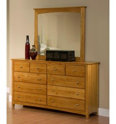 [61 Inch] Alder Shaker 10 Drawer Dresser - shown in Honey finish with Brushed Nickel knobs