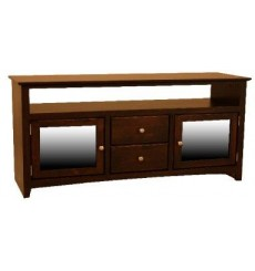 [54 Inch] Alder Shaker TV Console - shown in Cofee finish with Brushed Nickel knobs