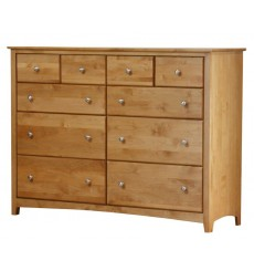 [61 Inch] Alder Shaker 10 Drawer BD Dresser - shown in Honey finish with Brushed Nickel knobs