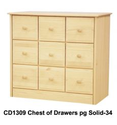 [34 Inch] Sierra 9 Drawer Chest