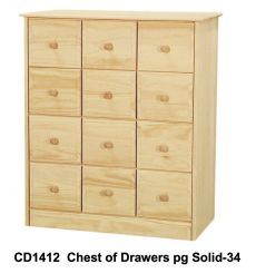 [34 Inch] Sierra 12 Drawer Chest