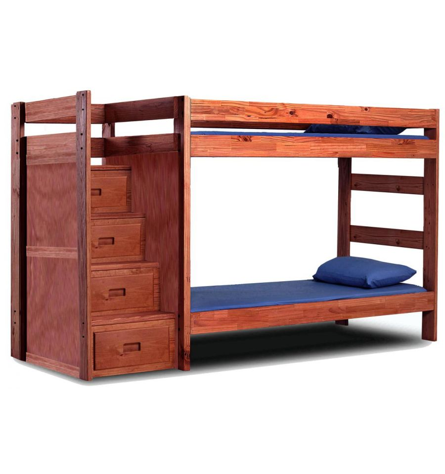 Reversible stairs bunk bed twin 40411a simply woods for Reverse loft bed