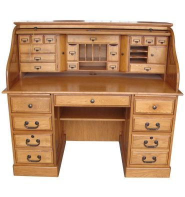 [54 Inches] Oak Deluxe Rolltop Desk