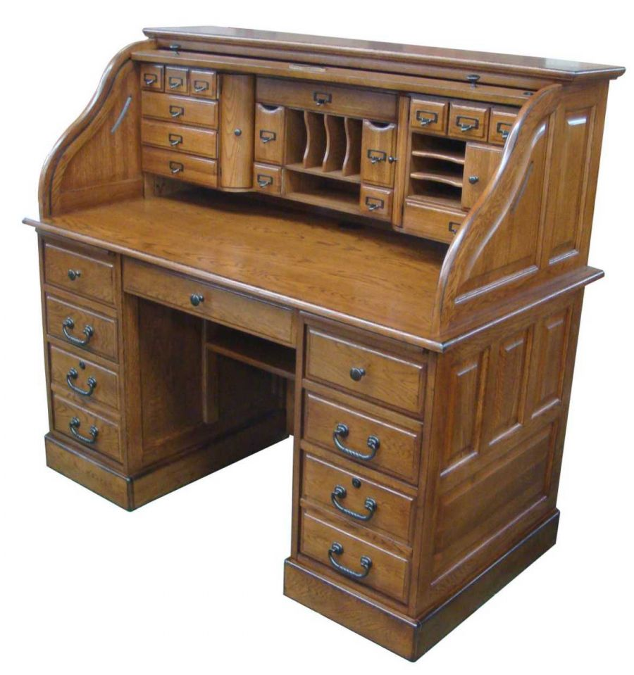 54 Inches Oak Deluxe Rolltop Desk Simply Woods