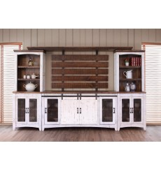 [122 inch] Distressed Barndoor Wall Unit
