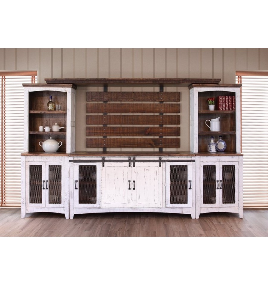 122 Inch Pueblo Barndoor Wall Unit Simply Woods